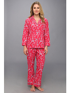 SALE! $59.99 - Save $52 on BedHead Rouge Eiffel Tower Flannel Classic PJ Set (Dark Red) Apparel - 46.44% OFF $112.00