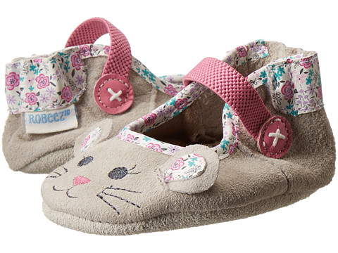 Robeez - Mouse Soft Soles (Infant/Toddler) (Grey) Girls Shoes