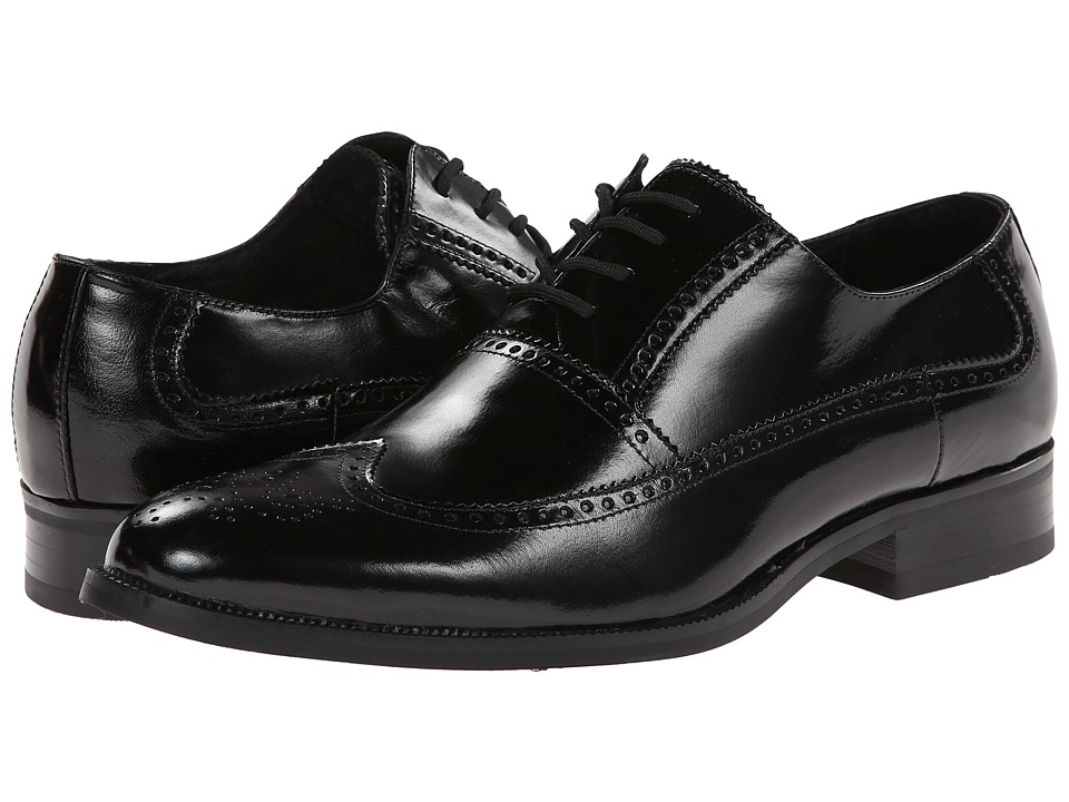 Stacy Adams - Sawyer (Black Buffalo Leather) Men's Lace Up Wing Tip Shoes