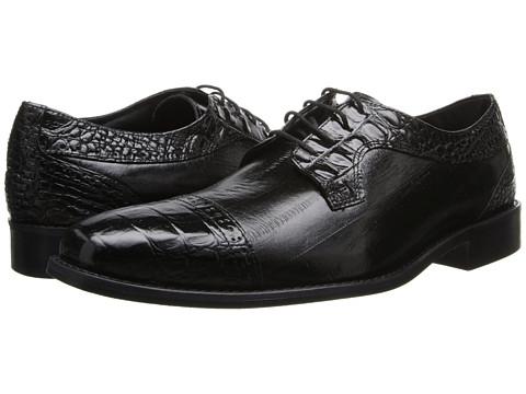 Stacy Adams - Giancarlo (Black Hornback & Eelskin Print Leather) Men's Lace Up Cap Toe Shoes