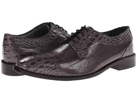 Stacy Adams - Giancarlo (Gray Hornback & Eelskin Print Leather) Men's Lace Up Cap Toe Shoes