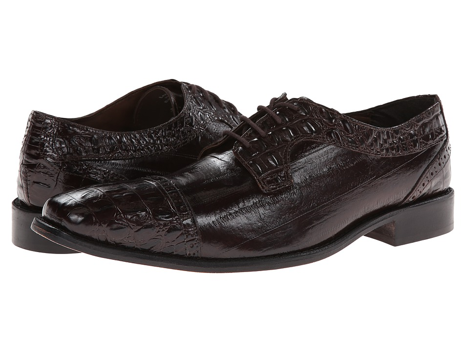 Stacy Adams - Giancarlo (Brown Hornback & Eelskin Print Leather) Men's Lace Up Cap Toe Shoes