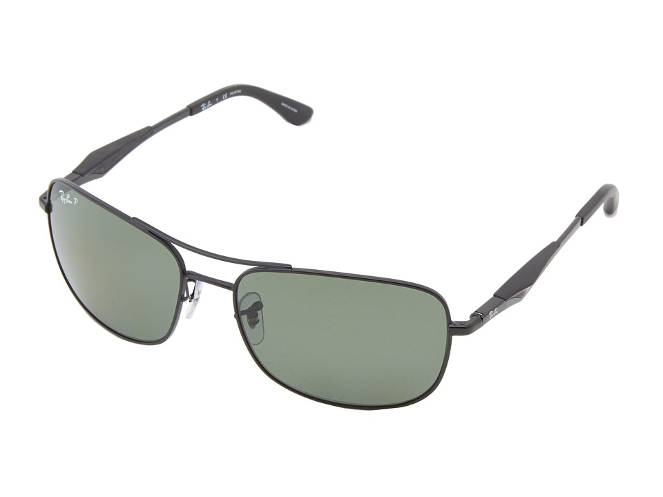 Ray-Ban - RB3515 Polarized 61mm (Matte Black Polar Green) Polarized Fashion Sunglasses