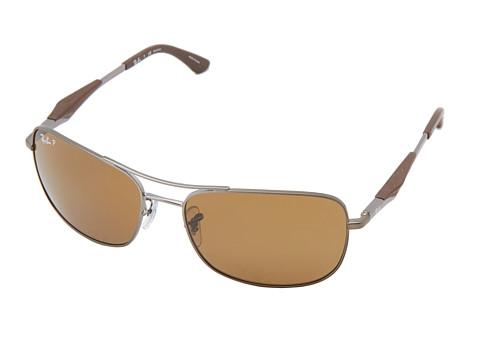 Ray-Ban - RB3515 Polarized 61mm (Matte Gunmetal Grey Dark Brown) Polarized Fashion Sunglasses