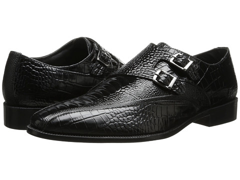 Stacy Adams - Kasimir (Black Ostrich Leg & Crocodile Print Leather) Men's Monkstrap Shoes