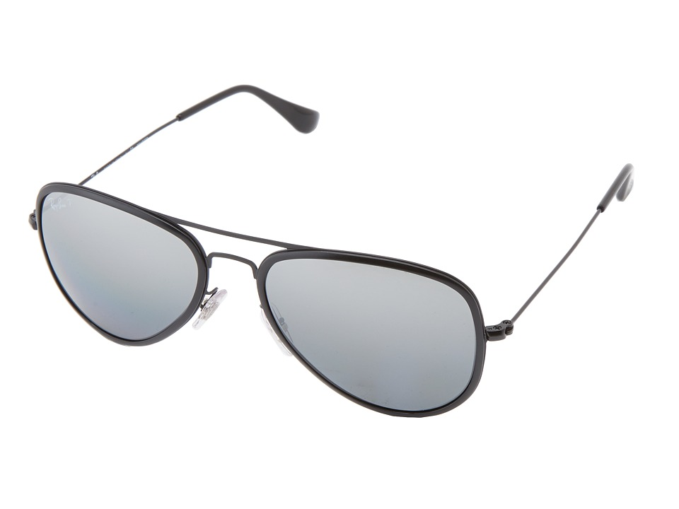 Ray-Ban - RB3513 Aviator Flat Metal Polarized 56mm (Grey Mirror Gradient Silver) Polarized Fashion Sunglasses