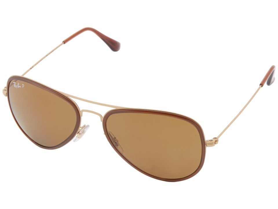 Ray-Ban - RB3513 Aviator Flat Metal Polarized 56mm (Dark Brown) Polarized Fashion Sunglasses