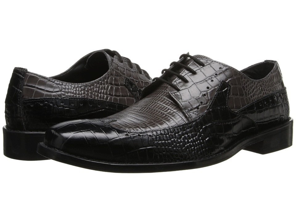Stacy Adams - Portello (Black & Gray Crocodile & Lizard Print Leather) Men