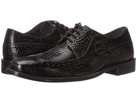 Stacy Adams - Portello (Black Crocodile & Lizard Print Leather) Men's Lace Up Wing Tip Shoes