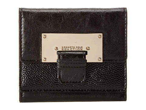 Kenneth Cole Reaction - Metal Head Double Flap Indexer (Black) Wallet Handbags