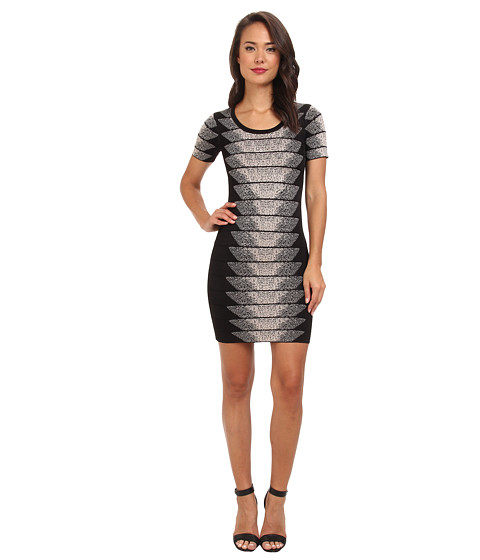 French Connection - Spotlight Fleck Jacquard 71CEB (Black/Birch) Women's Dress