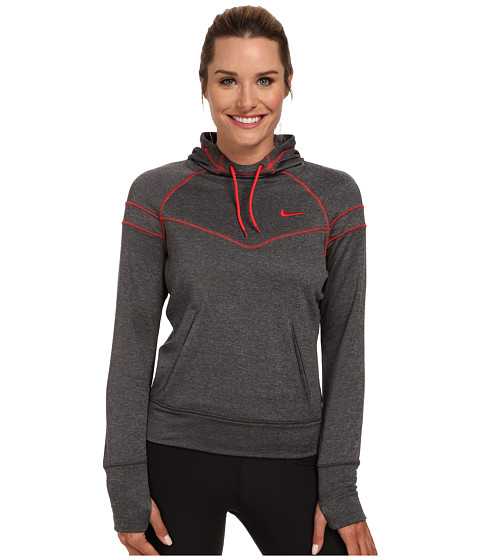 Nike - Soccer Dri-Fit Comfort Hoodie (Black Heather/Action Red/Action Red) Women's Workout