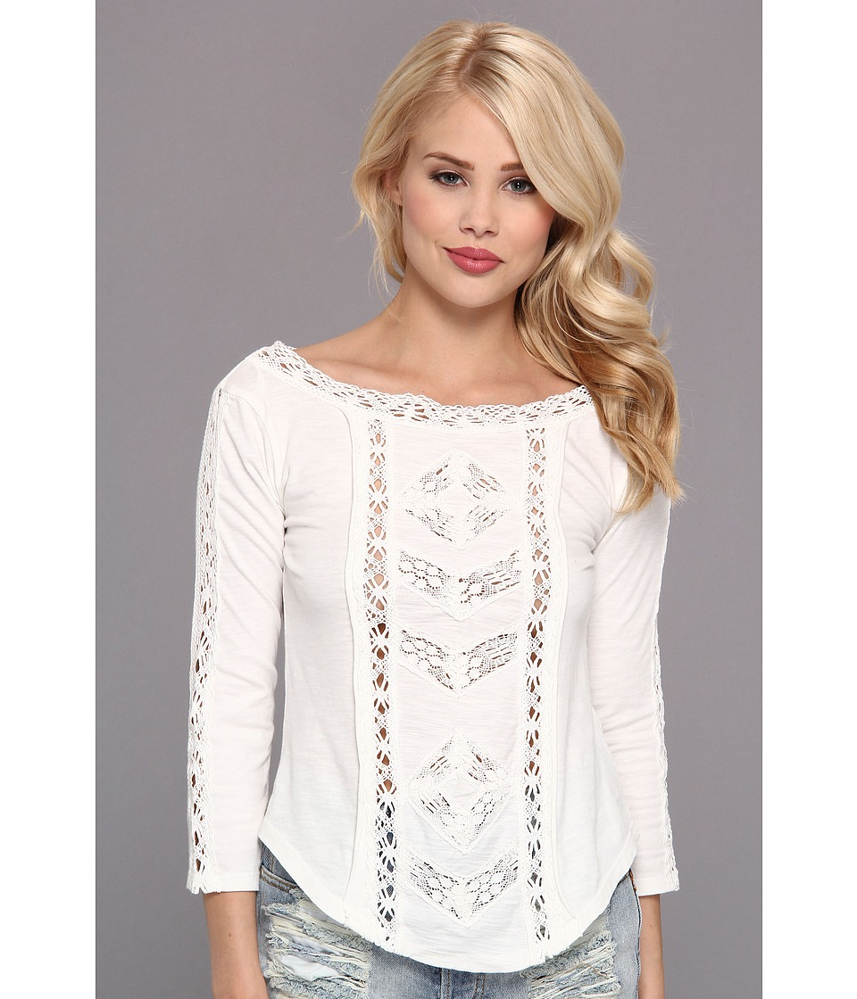 Free People - Truly Madly Lace Top (Ivory) Women's T Shirt