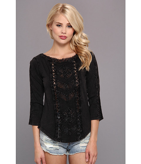 Free People - Truly Madly Lace Top (Black) Women