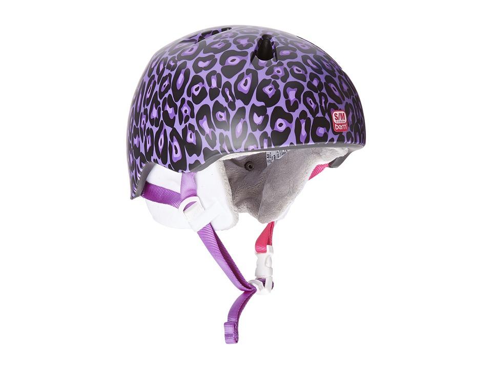 Bern - Nina (Satin Lavender Leopard Print w/ White Fleece) Helmet
