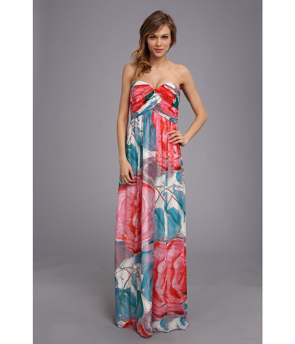 Donna Morgan Laura Long Printed Chiffon Gown Taffy Dress