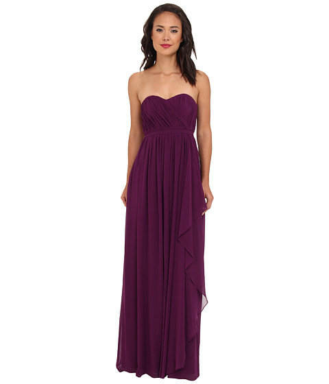 Donna Morgan - Lily Long Gown w/ Cascade Front (Grape) Women