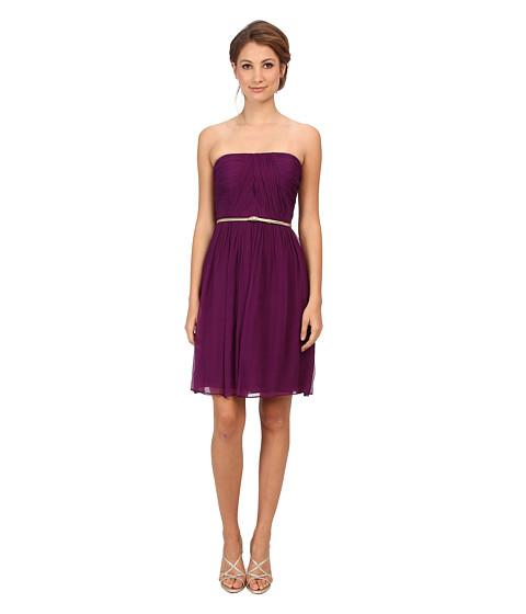 Donna Morgan - Donna Strapless Belted Chiffon Dress (Grape) Women