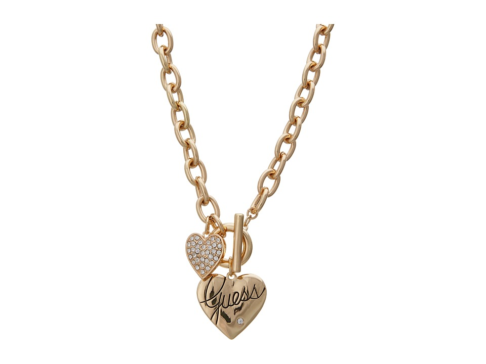 GUESS - Double Heart Charm Toggle Necklace 16 inch (Gold and Crystal) Necklace