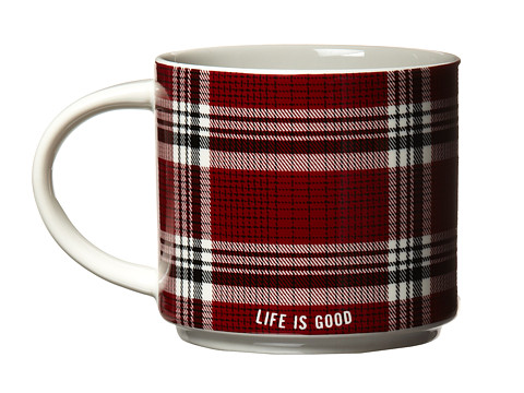 Life is good - Stack-Happy Mug (Night Black/Holiday Red Plaid) Individual Pieces Cookware