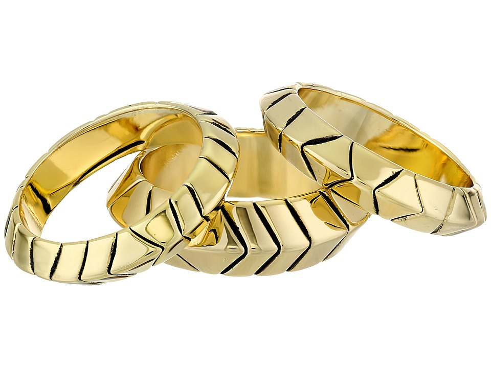 House of Harlow 1960 - Aztec Stack Rings (Gold Tone) Ring