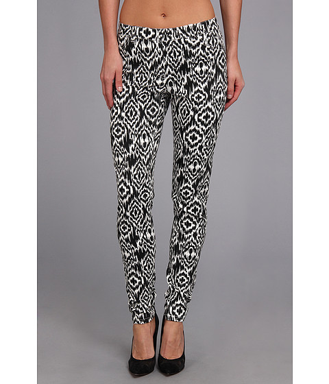 Christin Michaels - Comfort Waist Stretch Ikat Jean (Black/White) Women's Casual Pants