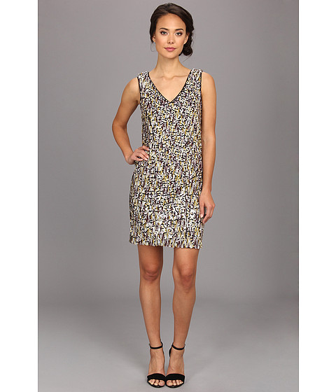 Vince Camuto - Sleeveless Sequin V Neck Dress (Multi) Women