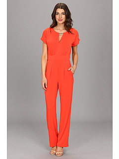 SALE! $62.99 - Save $65 on Vince Camuto Jersey Jumpsuit w V Neck Cutout Gold Hardware And Short Sleeves (Orange) Apparel - 50.79% OFF $128.00