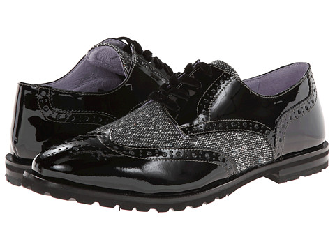 Johnston & Murphy - Brit Wing Tip (Black/White Tweed/Black Patent) Women's Lace Up Wing Tip Shoes