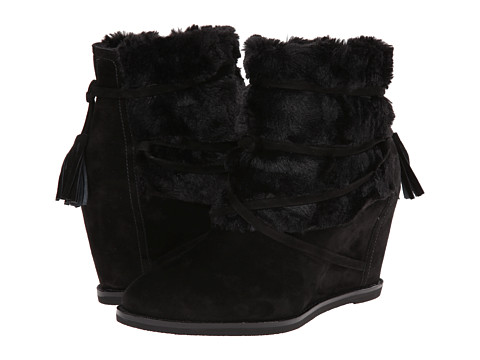 Johnston & Murphy - Brynn Fur Cuff (Black Kid Suede/Black Faux Fur) Women