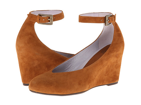 Johnston & Murphy - Tracey Ankle Strap (Amber Suede) Women's Shoes