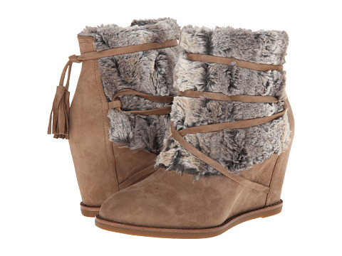 Johnston & Murphy - Brynn Fur Cuff (Mushroom Kid Suede/Chinchilla Faux Fur) Women's Shoes