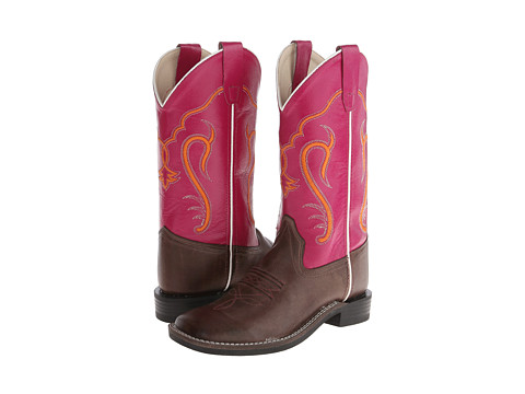 Old West Kids Boots - Western Boots (Big Kid) (Brown Canton/Dark Pink) Cowboy Boots