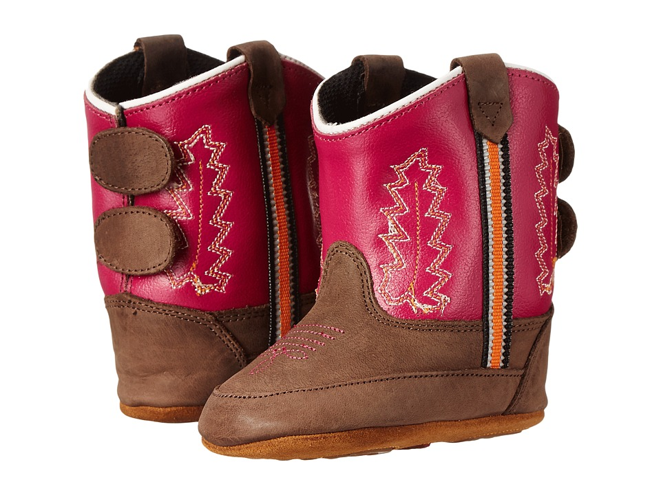 Old West Kids Boots - Poppets (Infant/Toddler) (Brown Canyon/Dark Pink) Cowboy Boots