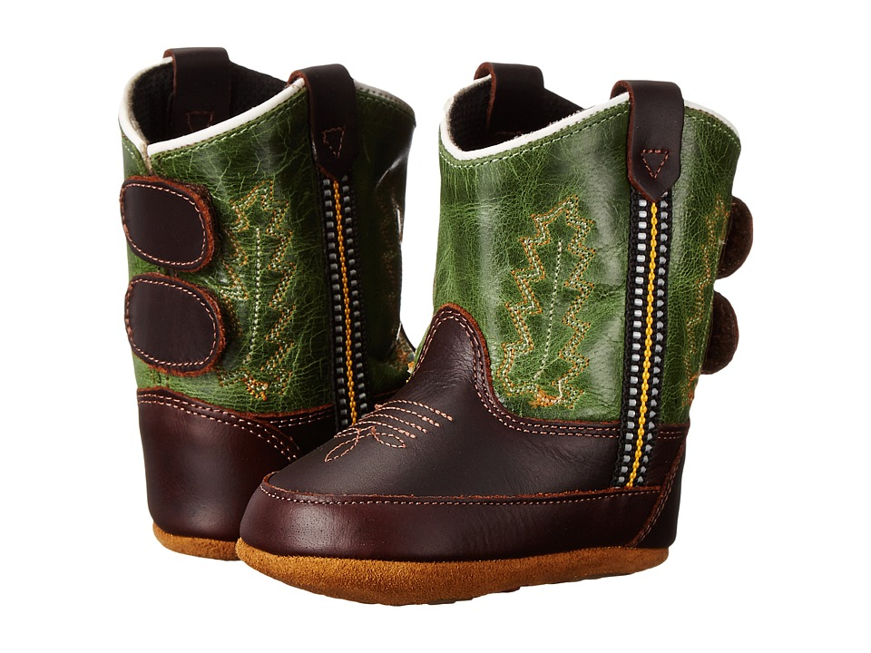 Old West Kids Boots - Poppets (Infant/Toddler) (Oiled Rust/Green Crackle) Cowboy Boots