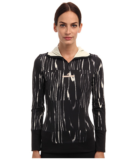 adidas by Stella McCartney - Run Printed Long Sleeve Hooded Top M61161 (Black/Frost) Women