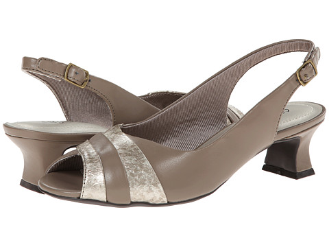 Easy Street - Gwen (Taupe/Snake) Women's Sling Back Shoes