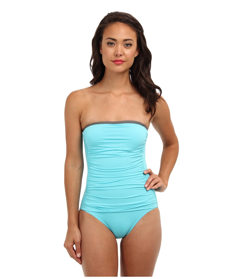 Tommy Bahama - Deck Piping Shirred Bandeau Cup One-Piece (Capri/Cave) Women