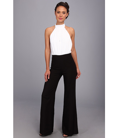 ABS Allen Schwartz - Tie Back Halter Jumpsuit w/ Front Slit (White/Black) Women's Jumpsuit & Rompers One Piece