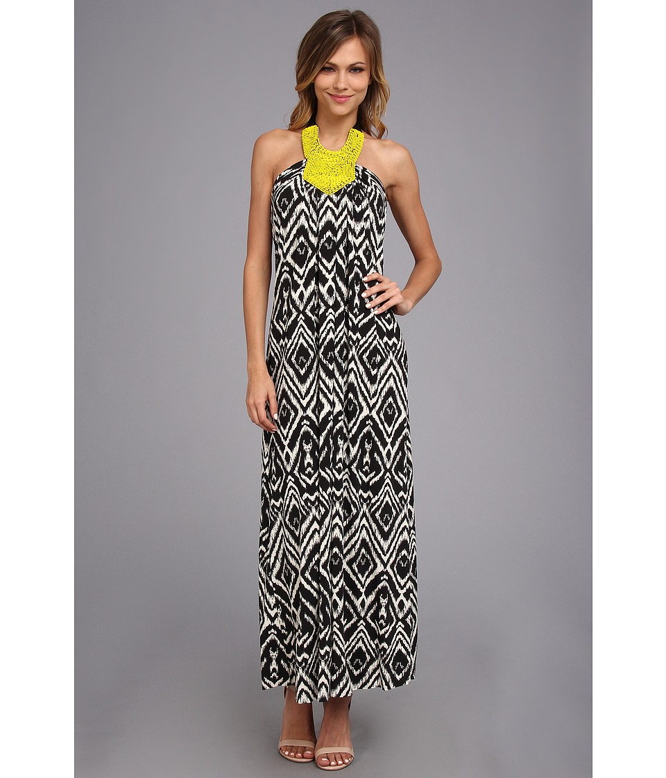 Tbags Los Angeles Halter Long Dress w/ Citron Seed Bead Embellishment Womens Dress (Multi)