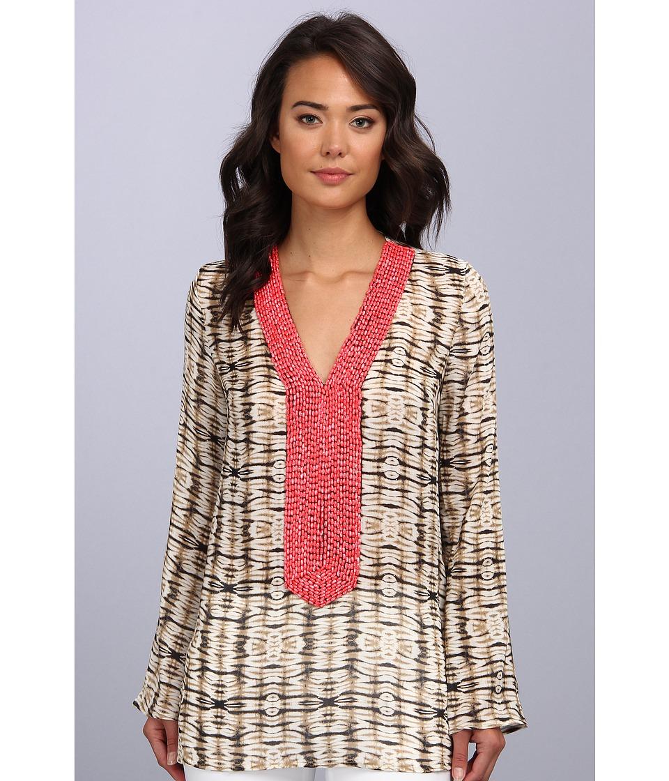 Tbags Los Angeles - Long Sleeve Tunic Top w/ Fuchsia Seed Bead EMB (CO10 Print) Women's Blouse