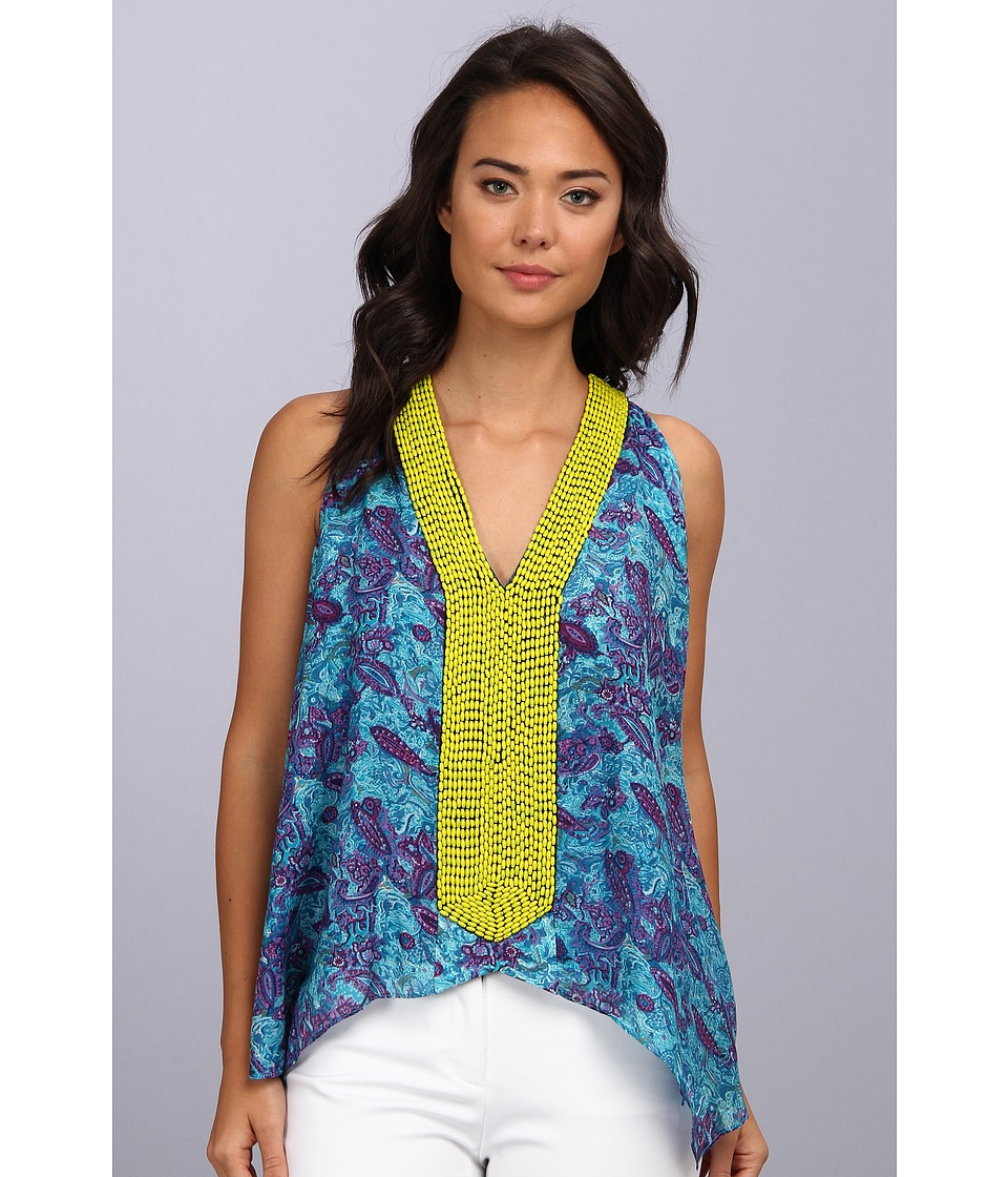 Tbags Los Angeles - V-Neck Sleeveless Tunic w/ Citron Seed Bead EMB (Turquoise) Women's Blouse