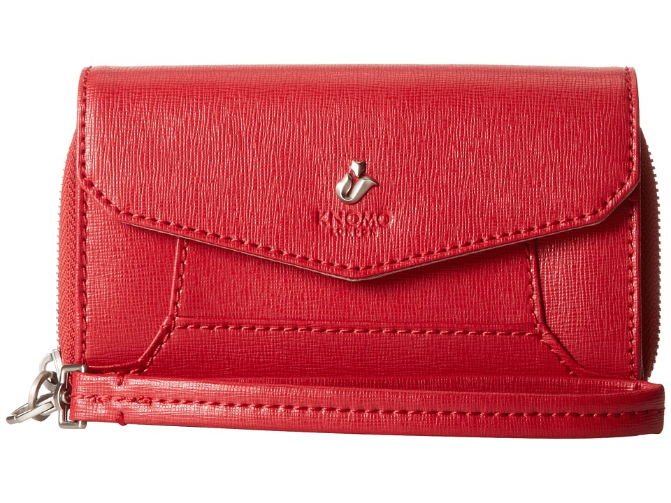 KNOMO London - Seymour Leather Smartphone Wristlet (Scarlet) Wristlet Handbags