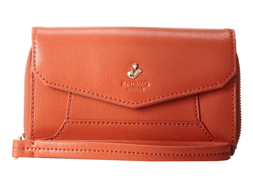KNOMO London - Seymour Leather Smartphone Wristlet (Orange) Wristlet Handbags
