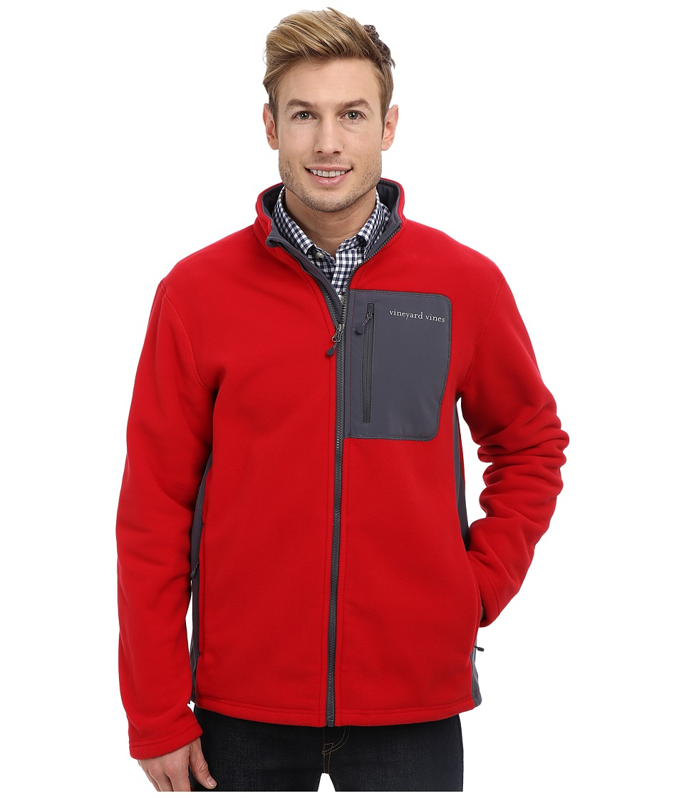 Vineyard Vines - Still River Fleece Full Zip Jacket (Red Velvet) Men
