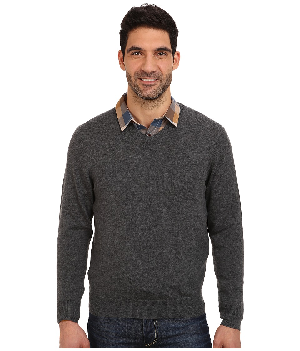 Vineyard Vines - Merino Cashmere V-Neck Sweater (Charcoal) Men's Sweater