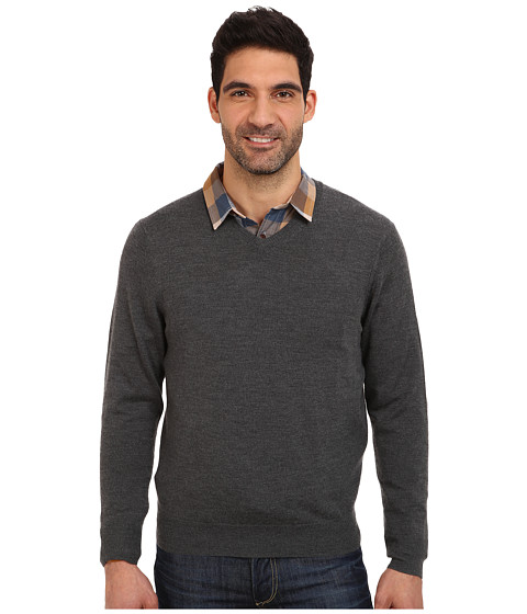 Vineyard Vines - Merino Cashmere V-Neck Sweater (Charcoal) Men