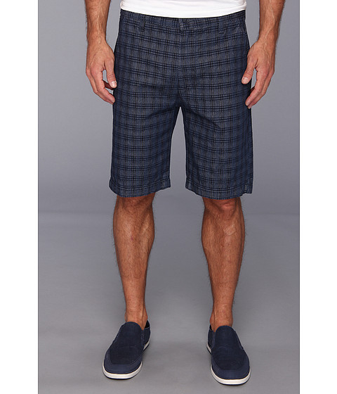 7 For All Mankind - Chino Short in Indigo Woven Plaid (Indigo Plaid) Men