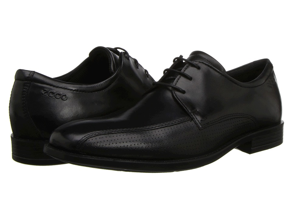ECCO - Edinburgh Perforated Tie (Black) Men's Lace-up Bicycle Toe Shoes