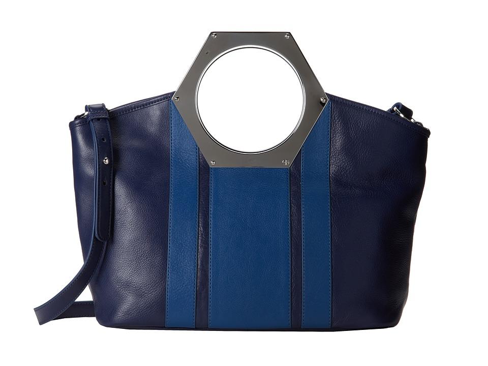 Jonathan Adler - Goldie Hex Handle Tote (Indigo/Dusk) Tote Handbags